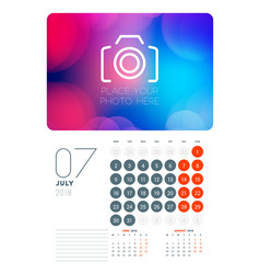 Wall calendar planner template for july 2018 vector