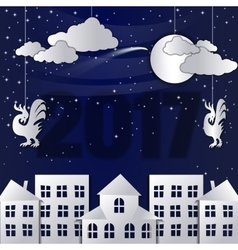 Winter Snow Urban Countryside Landscape City vector image