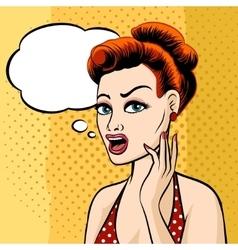 Woman face with speech bubble vector