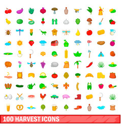 100 harvest icons set cartoon style vector