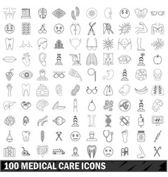 100 medical care icons set outline style vector