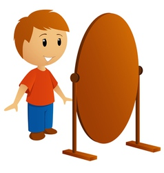 Boy with mirror vector
