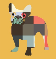 Color bulldog print vector