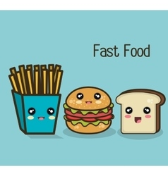 Kawaii fast food burger fries and bread design vector