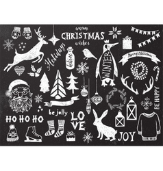 Hand drawn christmas design elements vector