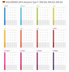 Calendar 2014 German Type 6 vector image