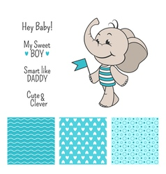 Baby elephant blue design with seamless patterns vector image