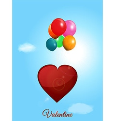 Red heart flying with balloons over blue sky vector