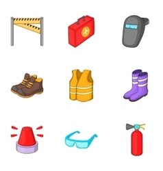 Road repair equipment icons set cartoon style vector