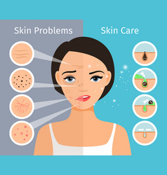 Female head with skin problems solution vector
