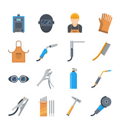 welding icons in a flat style vector image