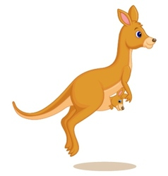 Mother and baby kangaroo cartoon vector
