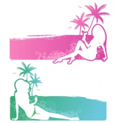 set summer girls vector image