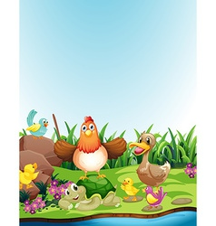 Animals and riverbank vector