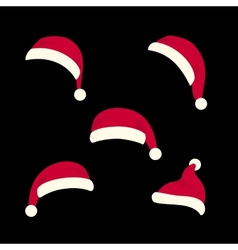Santas hats set vector