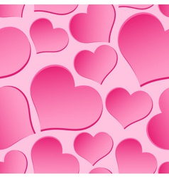 Pink valentine hearths from paper seamless pattern vector