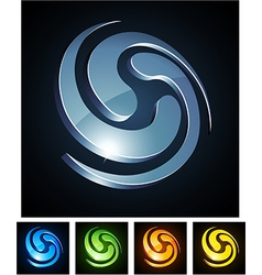 3d swirl emblems vector