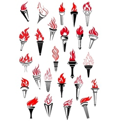 Flaming torches in vintage style vector image