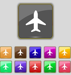 Airplane plane travel flight icon sign set with vector
