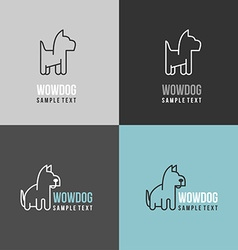 Thin line design template logotype dog logo with vector