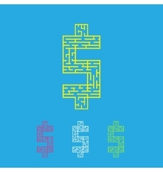Maze dollar labyrinth flat vector