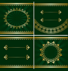 Set of vintage golden frames on green backgrounds vector