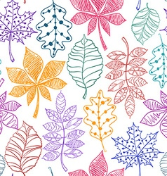 Seamless Pattern Of Patterned Autumn Leaves vector image