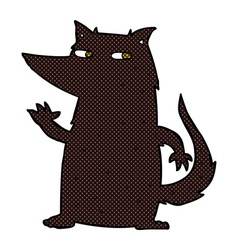 Comic cartoon wolf waving vector
