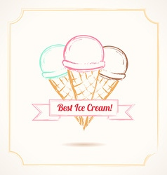 Vintage grunge poster three ice cream cones with vector
