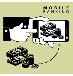 Mobile banking pond vector