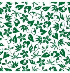 Seamless emerald green leaves and twigs pattern vector