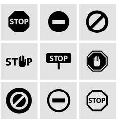 Black stop icon set vector