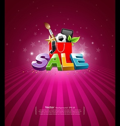 Sale message shopping bag vector