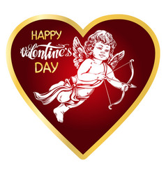 angel little baby cupid shoots a bow with an vector image