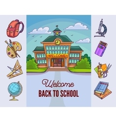 Back to school Building and supplies vector image