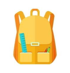Backpack Schoolbag Icon with Notebook Ruler vector image