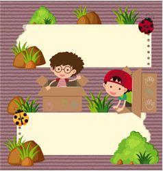 Banner template with boys and bugs vector