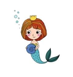 Beautiful little mermaid siren vector