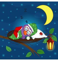 bird sleeps in nest vector image vector image