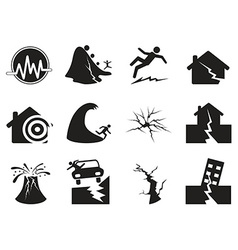 black earthquake icons set vector image
