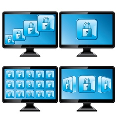 Black monitors with protect screen vector image