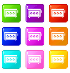 cd changer icons 9 set vector image