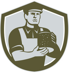 Cheesemaker holding cheese shield retro vector