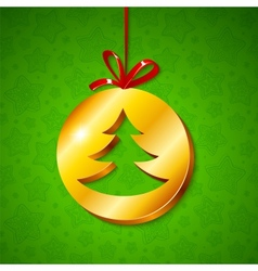 Christmas tree in golden circle vector