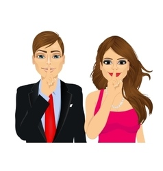 Couple making silence or secret hand gesture vector