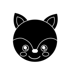 cute animal fox head baby vector image