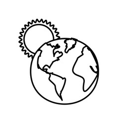 Figure earth planet with sun icon vector