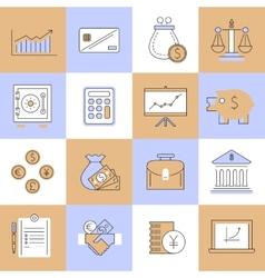 Finance icons set flat line vector