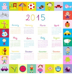 Frame with toys 2015 calandar for kids vector image