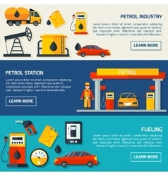 Gas petrol station flat banners set vector